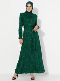 Yeşil - Çok renkli - Yuvarlak yakalı - Astarsız kumaş - - Elbise