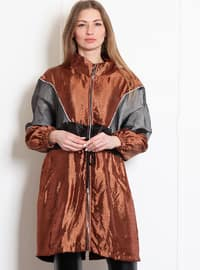 Terra Cotta - Unlined - Polo neck - Acrylic - Viscose - Puffer Jackets