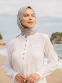 White - White - Crew neck - Cotton - Tunic
