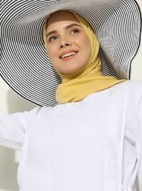 Beyaz - Astarsız kumaş - Yuvarlak yakalı - Pamuk - Ferace