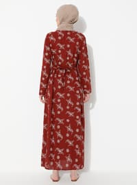 Bordo - Çok Renkli - Yuvarlak yakalı - V yaka - Astarsız - Pamuklu - Elbise