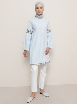 Blue - Button Collar - Cotton - Tunic