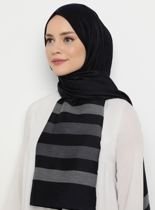 Navy Blue - Striped - Plain - Shawl