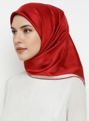 Red - Plain - %100 Silk - Scarf