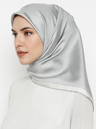 Gray - Plain - %100 Silk - Scarf