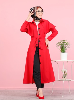 Red - Unlined - Point Collar -  - Trench Coat