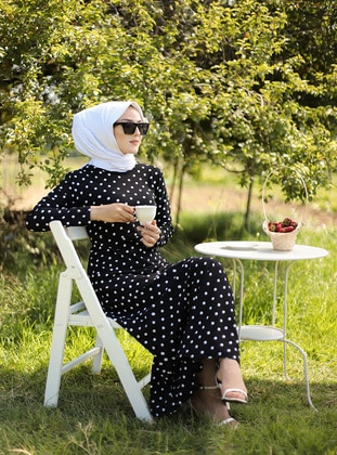 Black - Polka Dot - Crew neck - Unlined - Dress - Tofisa