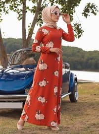 Terra Cotta - Floral - Crew neck - Unlined - Dress