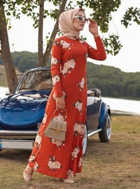 Terra Cotta - Floral - Crew neck - Unlined - Dress
