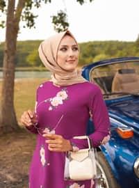 Purple - Floral - Crew neck - Unlined - Dress
