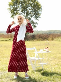 Maroon - Polka Dot - Crew neck - Unlined - Dress