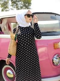 Black - Polka Dot - Crew neck - Unlined - Dress