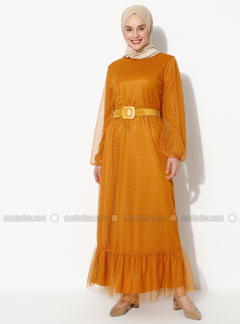 Mustard - Crew neck - Fully Lined -  - Dress