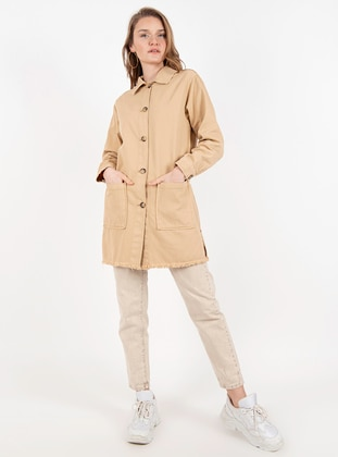 Beige - Unlined - Point Collar -  - Jacket