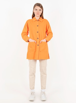 Orange - Unlined - Point Collar -  - Jacket