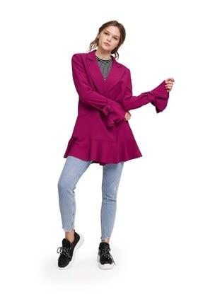 Purple - Fully Lined - Shawl Collar -  - Jacket