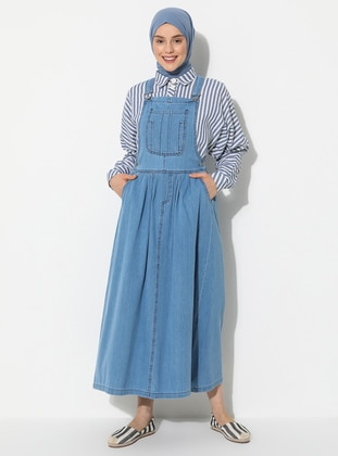 Blue - Sweatheart Neckline - Unlined - Denim -  - Dress