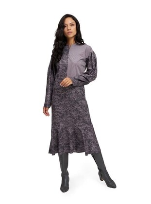 Gray - Multi - Crew neck - Unlined -  - Dress