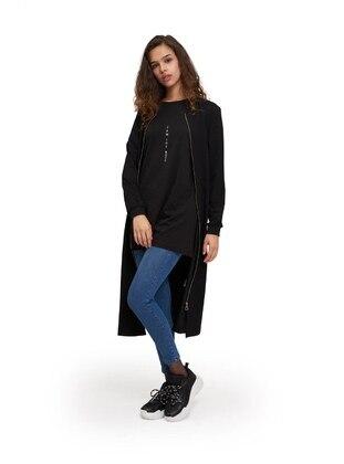 Black - Unlined - Crew neck -  - Jacket
