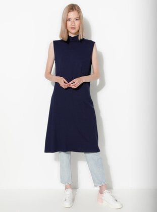 Navy Blue - Polo neck -  - Blouses