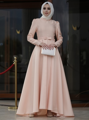 Salmon - Fully Lined - Crew neck - Viscose - Muslim Evening Dress