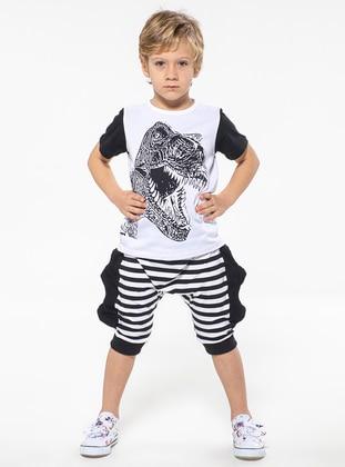 Stripe - Crew neck -  - White - Multi - Black - Boys` Suit