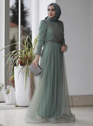 Mint - Fully Lined - Crew neck - Viscose - Muslim Evening Dress
