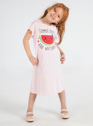 Polka Dot - Crew neck -  - Pink - Girls` Dress