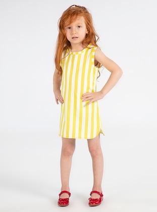 Stripe - Crew neck -  - Multi - Yellow - Girls` Dress