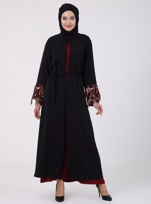 Maroon - Black - Unlined - Crew neck - Abaya