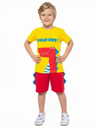 Crew neck - - Multi - Yellow - Boys` Suit