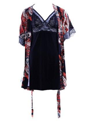 Multi - Black - Shawl Collar - V neck Collar - Viscose - Nightdress