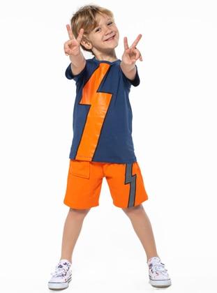 Crew neck -  - Multi - Navy Blue - Orange - Boys` Suit