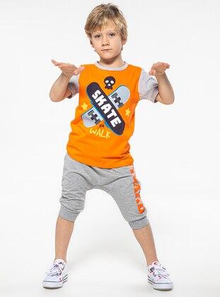 Crew neck -  - Gray - Multi - Orange - Boys` Suit