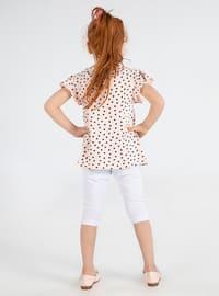 Polka Dot - Crew neck - - White - Multi - Powder - Girls` Suit