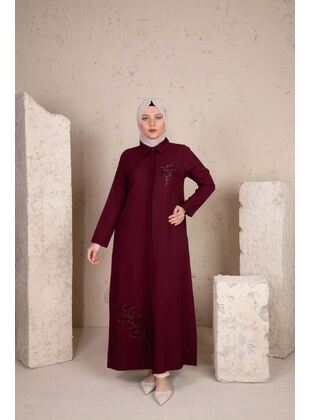 Maroon - Plus Size Evening Abaya