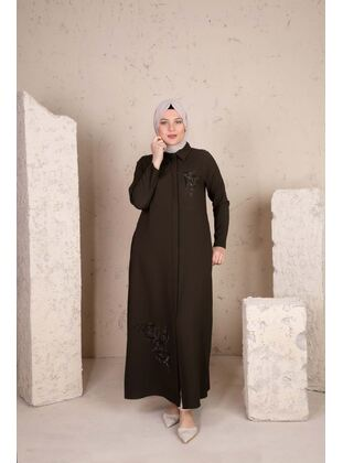 Khaki - Plus Size Evening Abaya