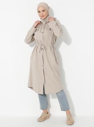 Beige - Polo neck - Trench Coat