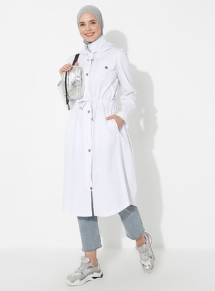 White - Ecru - Polo neck - Trench Coat