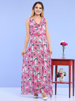 Fuchsia - Floral - V neck Collar - Unlined - Acrylic - Dress