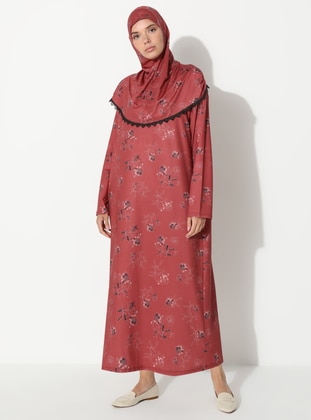 Maroon - Floral - Unlined - Prayer Clothes