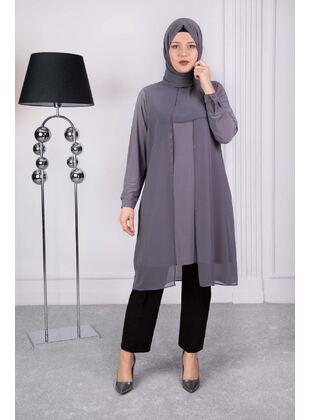 Gray - Plus Size Evening Tunics - BEHREM