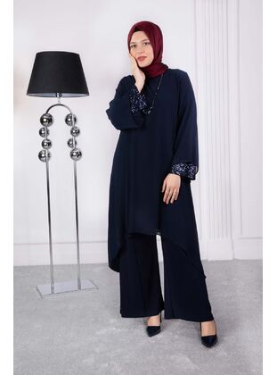 Navy Blue - Plus Size Evening Suit
