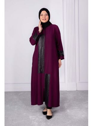 Plum - Plus Size Evening Abaya