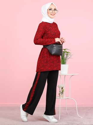 Red - Unlined - Suit - Tofisa