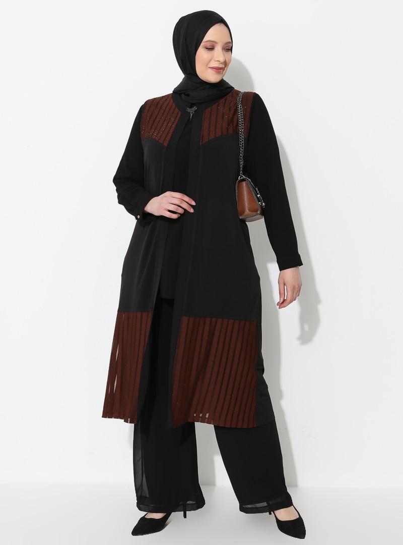 Plus Size Vest Ferace Terra Cotta / Black