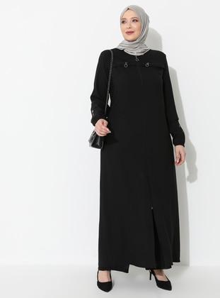 Black - Unlined - Crew neck - Viscose - Plus Size Coat - Ferace