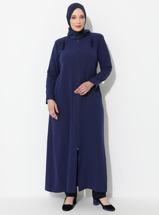Indigo - Crew neck - Unlined - Viscose - Plus Size Abaya