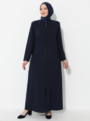 Navy Blue - Crew neck - Unlined - Viscose - Plus Size Abaya