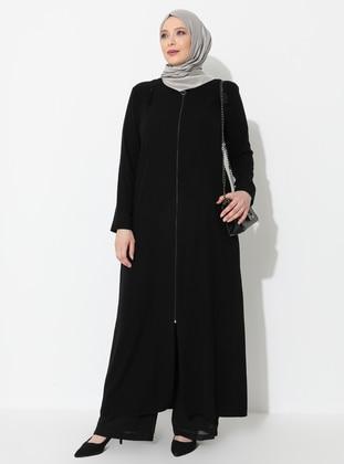 Black - Crew neck - Unlined - Viscose - Plus Size Abaya - Ferace